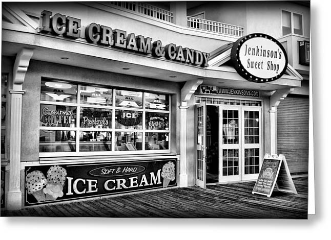 Jenkinsons Greeting Cards - Ice Cream and Candy Shop at The Boardwalk - Jersey Shore Greeting Card by Angie Tirado