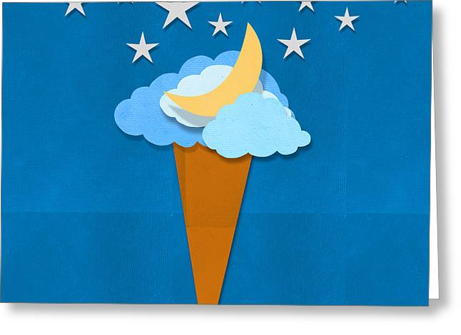 Paper Moon Greeting Cards - Ice Cream Design On Hand Made Paper Greeting Card by Setsiri Silapasuwanchai
