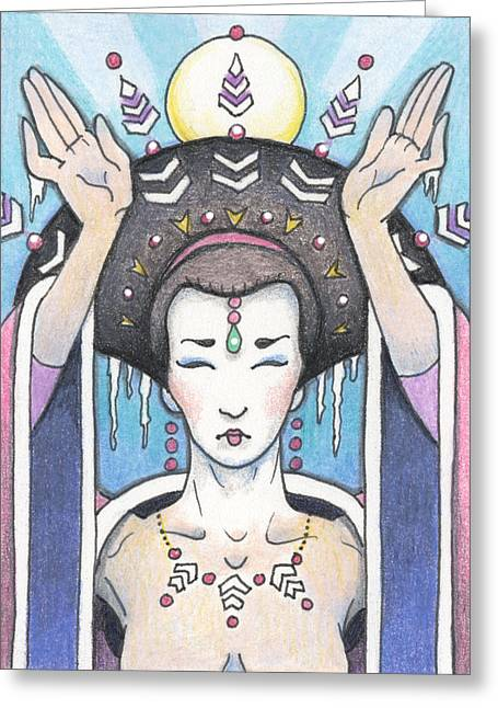Meditate Drawings Greeting Cards - Ice Dragon Geisha Greeting Card by Amy S Turner