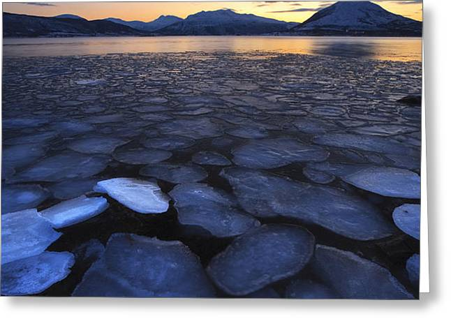 Ice Flakes Drifting Towards Greeting Card by Arild Heitmann