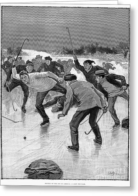 Outdoor Hockey Greeting Cards - Ice Hockey, 1898 Greeting Card by Granger