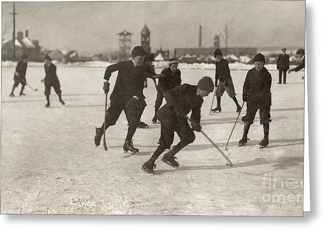 Best Sellers -  - Textile Photographs Greeting Cards - Ice Hockey 1912 Greeting Card by Granger