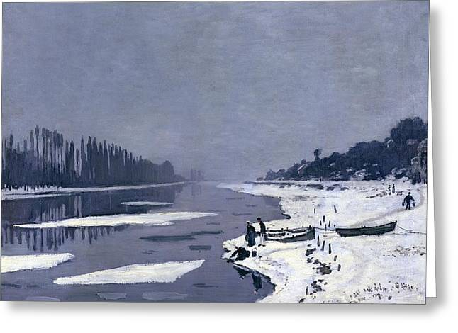 Seine Paintings Greeting Cards - Ice on the Seine at Bougival Greeting Card by Claude Monet