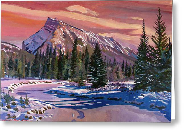 Rundle Greeting Cards - Ice River Sunrise Greeting Card by David Lloyd Glover