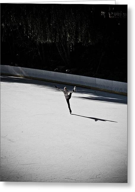 Wollman Rink Greeting Cards - Ice Skater Greeting Card by Darren Martin