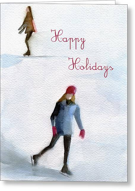 Snow Greeting Cards Greeting Cards - Ice Skaters Holiday Card Greeting Card by Beverly Brown Prints