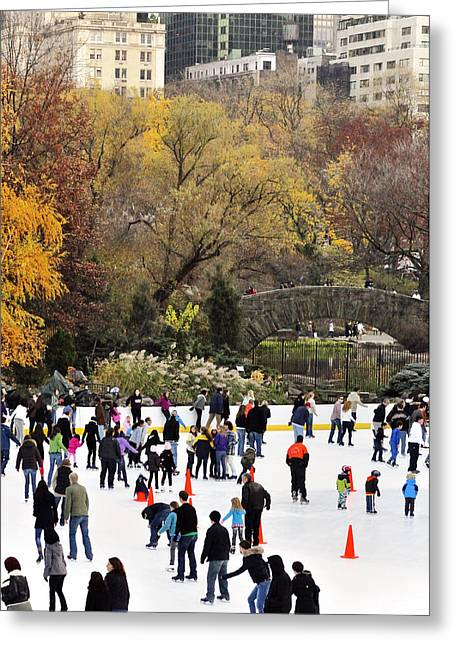 Ice-skating Greeting Cards - Ice Skating in Central Park Greeting Card by Vicki Jauron