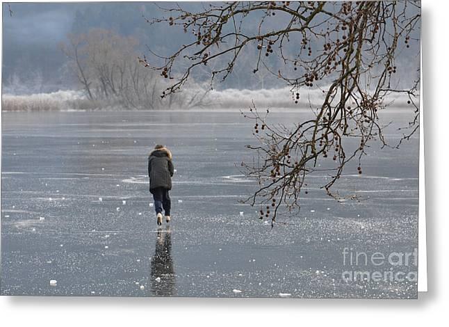 Ice-skating Greeting Cards - Ice skating Greeting Card by Mats Silvan