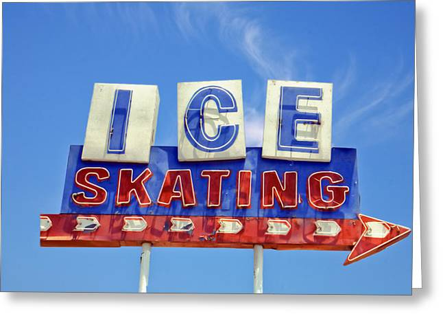 Nostalgic Sign Greeting Cards - Ice Skating Greeting Card by Matthew Bamberg