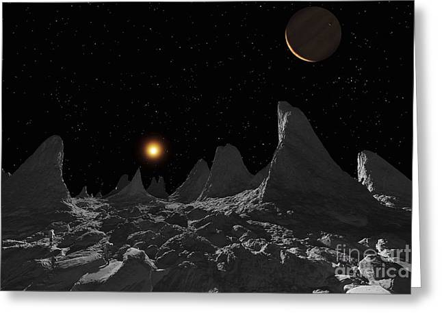 Adults Only Digital Art Greeting Cards - Ice Spires On Jupiters Large Moon Greeting Card by Ron Miller