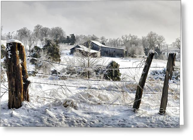 Rural Indiana Digital Art Greeting Cards - Ice Storm - D004825a Greeting Card by Daniel Dempster