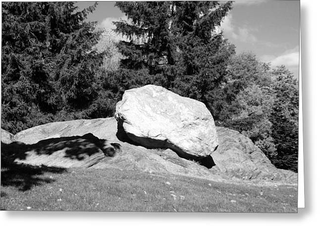 Natral Greeting Cards - ICEAGE ROCK in BLACK AND WHITE Greeting Card by Rob Hans