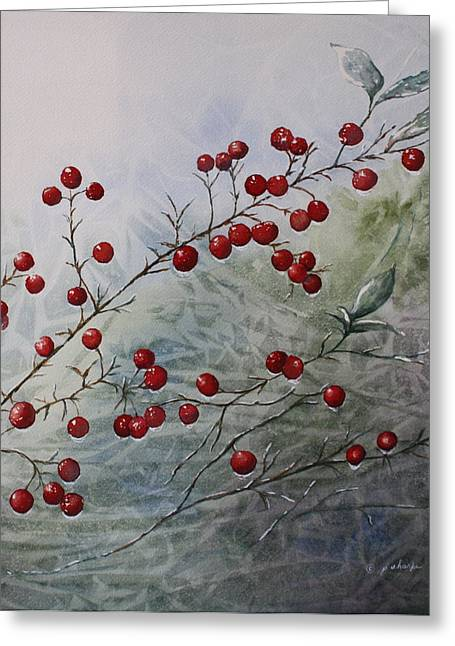 Patsy Sharpe Paintings Greeting Cards - Iced Holly Greeting Card by Patsy Sharpe