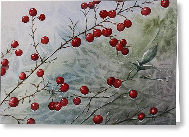 Iced Holly Greeting Card by Patsy Sharpe