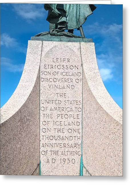Iceland Leif Erricson Statue Greeting Card by Gregory Dyer
