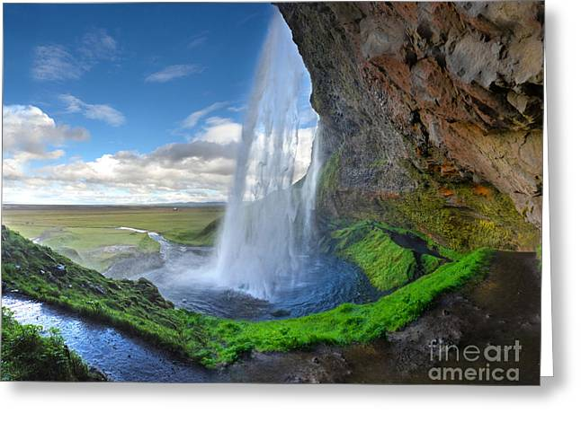 Iceland Waterfall Seljalandsfoss 02 Greeting Card by Gregory Dyer
