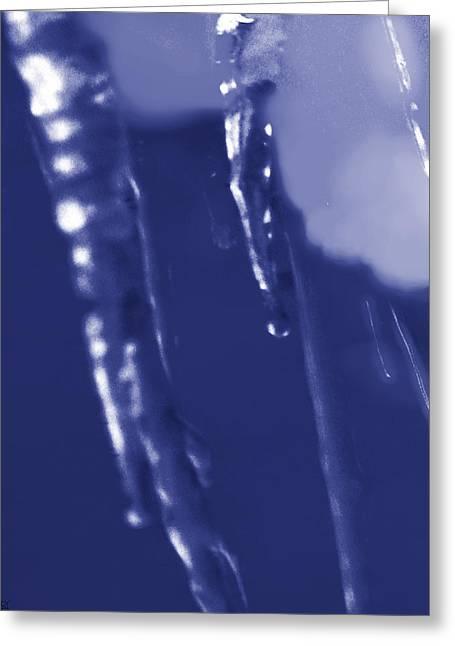 Photos Of Autumn Mixed Media Greeting Cards - Icey Blues Greeting Card by Debra     Vatalaro