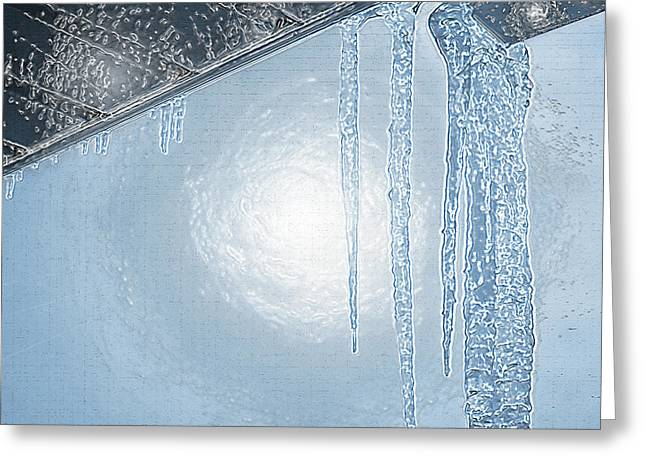 Sun Breaking Through Clouds Greeting Cards - Icicles 1 - Hanging From the Eaves Greeting Card by Steve Ohlsen