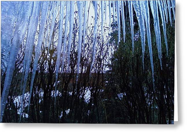 Anna Villarreal Garbis Greeting Cards - Icicles 1 Greeting Card by Anna Villarreal Garbis
