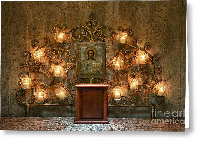 Holy Icons Greeting Cards - Icon of Jesus  Greeting Card by John Greim