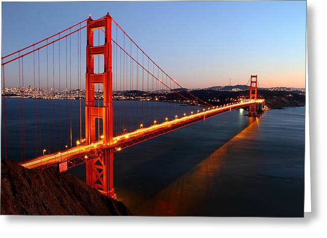 Reflections Greeting Cards - Iconic Golden Gate Bridge in San Francisco Greeting Card by Pierre Leclerc Photography