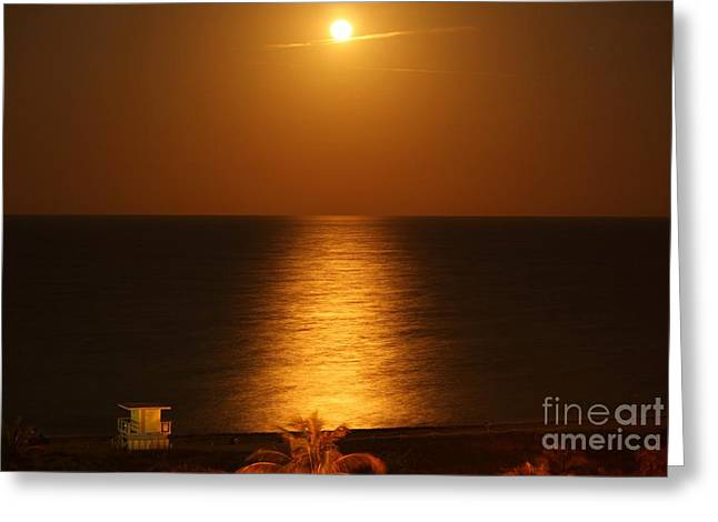 Sea Moon Full Moon Greeting Cards - Iconic Super Moon Reflection Greeting Card by Rene Triay Photography