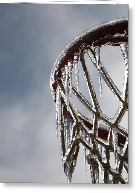 Basketballs Greeting Cards - Icy Hoops Greeting Card by Nadine Rippelmeyer