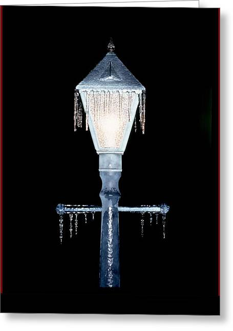 Winter Photos Greeting Cards - Icy Lamp Post Greeting Card by John Foote
