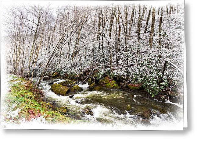 Snowy Stream Greeting Cards - Icy Landscape Greeting Card by Debra and Dave Vanderlaan