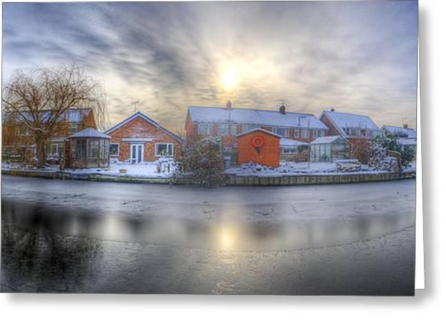 Snow Tree Prints Greeting Cards - Icy River Panorama Greeting Card by Yhun Suarez