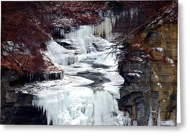 Ithaca Greeting Cards - Icy waterfalls Greeting Card by Paul Ge