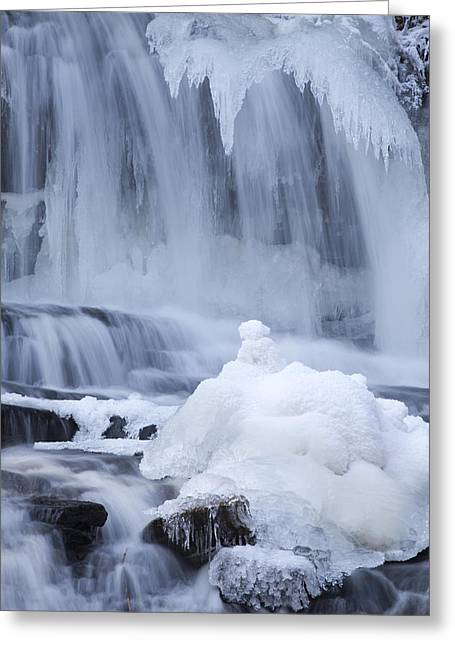 Icy Winter Waterfall Greeting Card by John Stephens