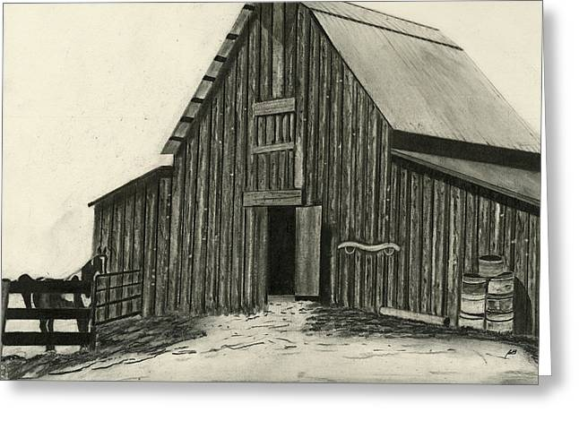Old Barns Drawings Greeting Cards - Idaho Warmth Greeting Card by Bryan Baumeister