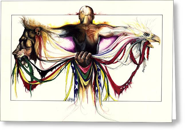 African-american Artist Drawings Greeting Cards - Identity Crisis Greeting Card by Anthony Burks Sr