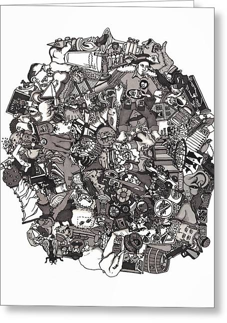 Grayscale Drawings Greeting Cards - Idiomatic 160 plus Greeting Card by Tyler Auman
