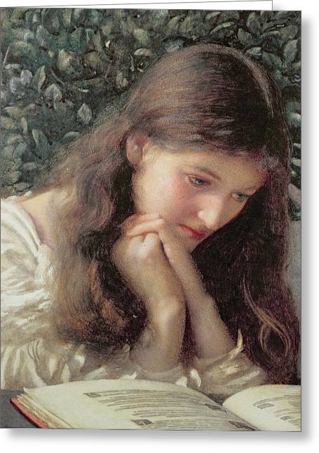 Clasped Greeting Cards - Idle Tears Greeting Card by Edward Robert Hughes