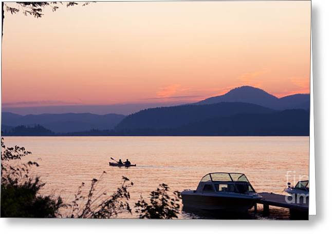Lake Pend Oreille Greeting Cards - Idyllic Evening Greeting Card by Idaho Scenic Images Linda Lantzy