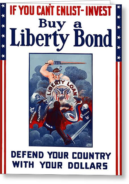 Liberty Greeting Cards - If You Cant Enlist Invest Greeting Card by War Is Hell Store