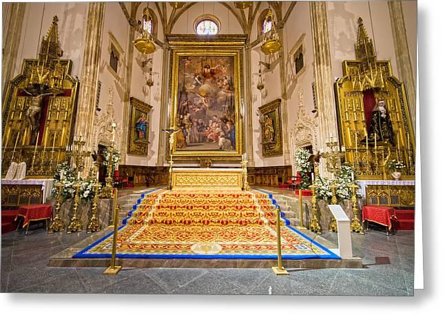 Spanish Art Sculpture Greeting Cards - Iglesia de San Jeronimo El Real Interior Greeting Card by Artur Bogacki