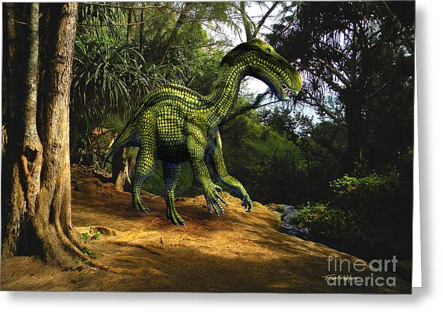 Dinosaurs Greeting Cards - Iguanodon In The Jungle Greeting Card by Frank Wilson