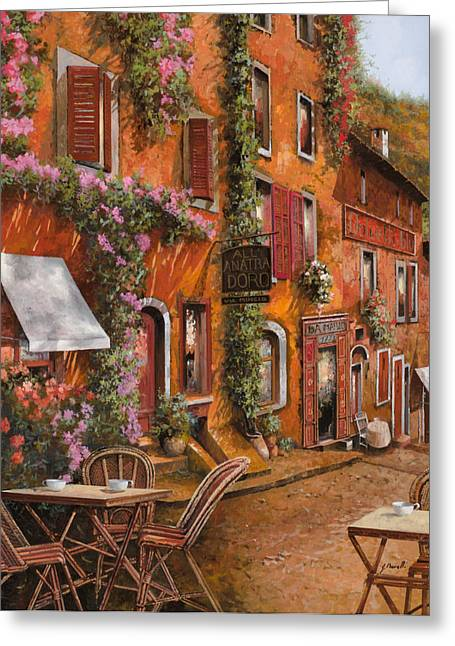 Brasserie Greeting Cards - Il Bar Sulla Discesa Greeting Card by Guido Borelli