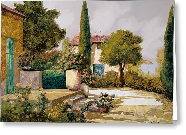 Courtyard Greeting Cards - Il Cipresso Greeting Card by Guido Borelli