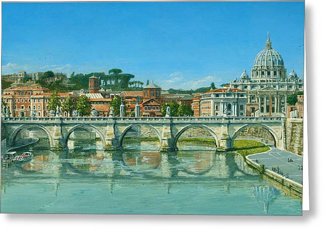 Greeting Cards For Sale Greeting Cards - Il Fiumi Tevere Roma Greeting Card by Richard Harpum