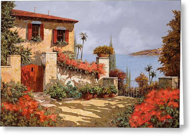 Doors Greeting Cards - Il Giardino Rosso Greeting Card by Guido Borelli