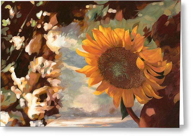 Fields Greeting Cards - Il Girasole Greeting Card by Guido Borelli