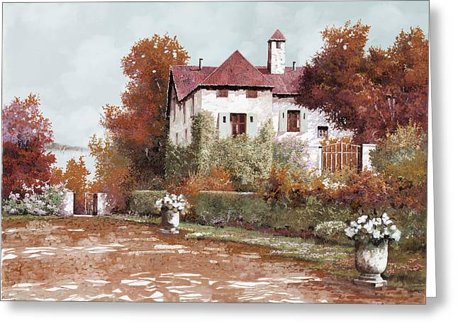 Villa Paintings Greeting Cards - Il Palazzo In Autunno Greeting Card by Guido Borelli