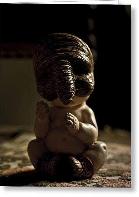 Toys Sculptures Greeting Cards - Il Piccolo Budda Greeting Card by Francesca Dalla benetta