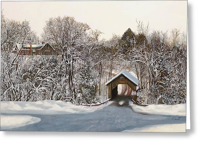 Covered Bridge Greeting Cards - Il Ponte Coperto Di Legno Greeting Card by Guido Borelli