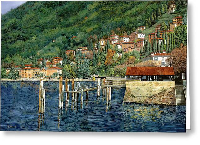 Green Boat Greeting Cards - il porto di Bellano Greeting Card by Guido Borelli