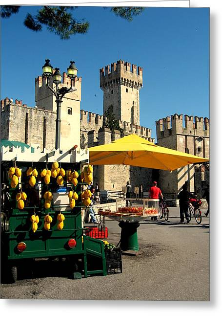 Limoni Greeting Cards - Il venditore di limoni a Sirmione Greeting Card by Riccardo Maffioli